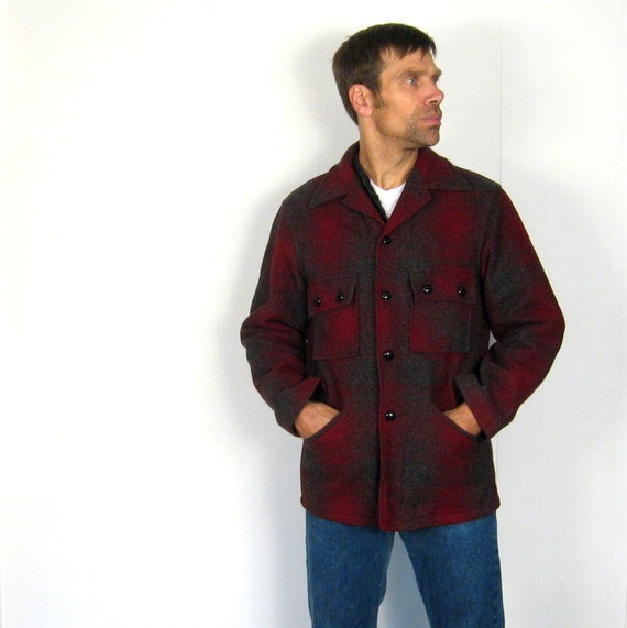1950s Mens Jacket / Shadow Plaid Coat / Chippewa / Wool Plaid Jacket / Medium M