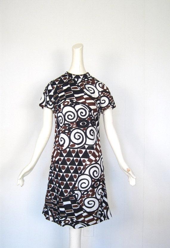 Mod 60s Dress / 1960s Dress / Beatnik Geometry / Small S