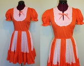 50s orange and white square dancing dress Oktoberfest pumpkin costume