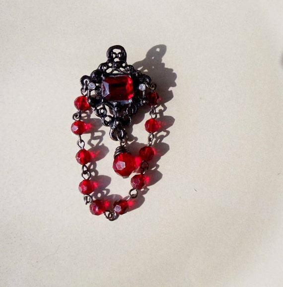Vintage Goth Black Ruby Brooch