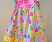 MisMatchedMolly.......CUSTOM Pears Delicious Flutter Dress.....sz 12m to sz 8....