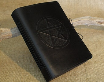 A5, Medium, Leather Bound Journal, Pentagram Book of Shadows, Pentacle Journal, Black Leather Notebook, Wiccan, Grimoire, Personalized.