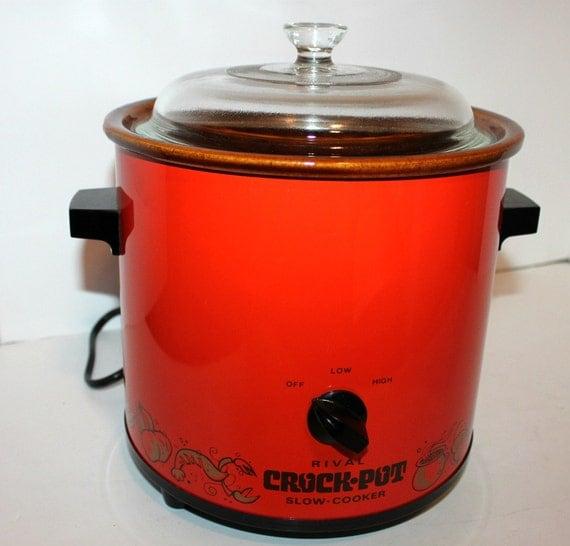 Vintage Rival Crock Pot Slow Cooker Model 3100 3.5 Qt Glass Lid Burnt Orange