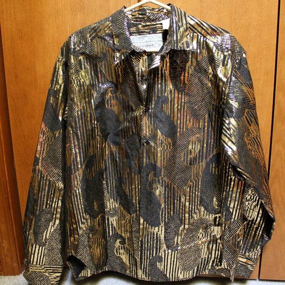 Vintage Le Garage France 70s Disco Shirt Mens Gold Metallic Black LS Size Large