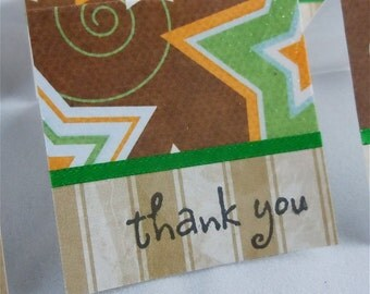 Brown Starry Mini Thank You Cards 2x2 (6)
