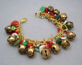 Button Charm Bracelet / Gold Bells Christmas Jewelry / Fun Red and Green Piece by randomcreative on Etsy