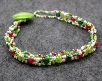 Beaded Bracelet - Petite Garden Light Lime Green Pink by randomcreative on Etsy