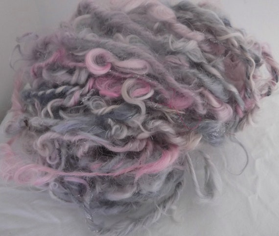 Handspun Mohair Locks soft pretty pastel pink grey with a little Angelina silver sparkle 55 yards 169 grams