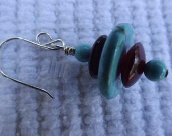 Turquoise howlite red horn disk earrings