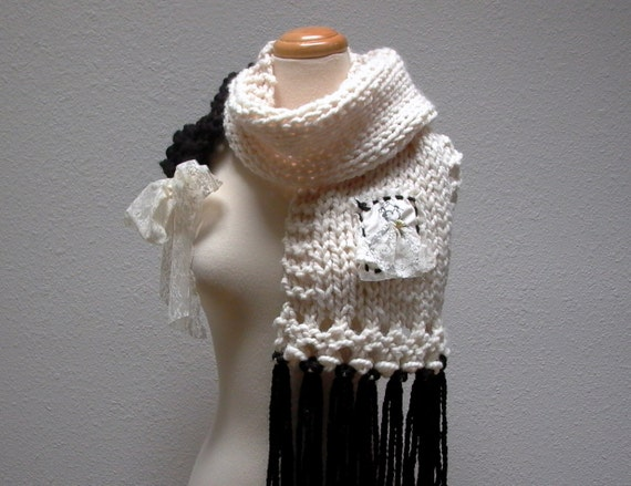 fashion statement. knitted scarf shawl black cream winter white vintage lace parisian style modern romantic knitwear winter accessories