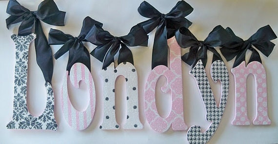 pink and black wall letters nursery decor glitter sparkle