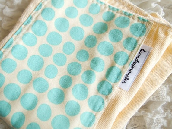Baby burp cloth - ivory and aqua dots hand dyed burp cloth