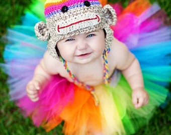 TOP Seller Rainbow Birthday Baby girl Tutu set, silly sock monkey crochet animal stripe bright hat photography prop