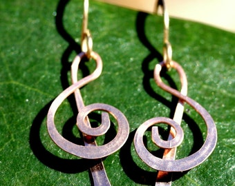 Tiny Copper Treble Clef  Earrings