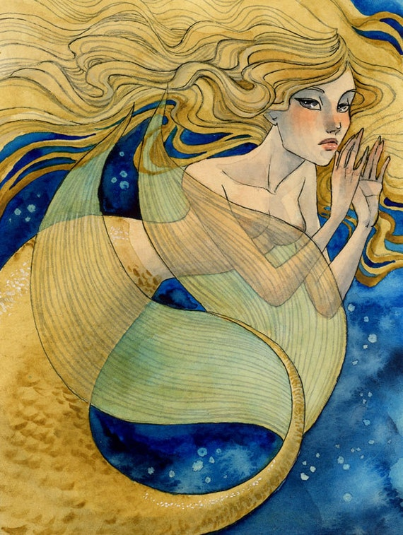 FREE SHIPPING - Golden Mermaid - 4.5 x 6.5 Original Painting - ink and watercolor - one of a kind