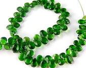 Green Tourmaline Gemstone, Faceted Pear Briolette, 5- 6.5mm,  Mini strand.  Semi Precious Gemstone.  Your Choice (13tml)