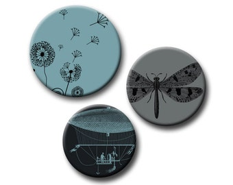 Digital Download dandelion flower Insects Hot Air Balloons 12, 14 & 16 mm Round Circles Slate and Charcoal INSTANT DOWNLOAD