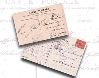 Antique Post Cards & Mini Post Cards jpeg - background - download - 2 Digital Collage Sheets - INSTANT DOWNLOAD