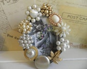 Ivory and Golden Rhinestone and Pearly Embellished Vintage Jeweled Picture Frame