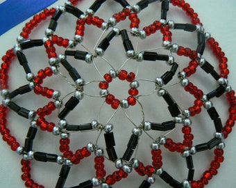 Clearance Kippah Sale!!!!Hand made kippah in shades of red, black and silver czech glass beads.  Comes with a deorated gift box.