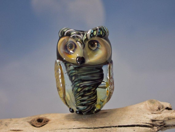RESERVED for TINA...............................Nanette... lampwork owl bead... sra