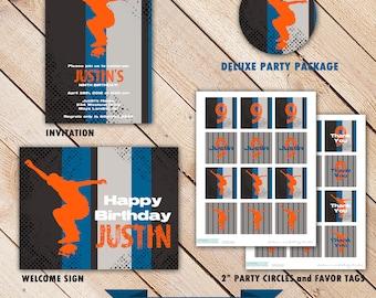 Skateboard Birthday Party Decorations : Printable Skateboarder Decorations - Skateboard Birthday Invitation - Happy Birthday Banner