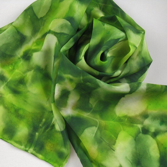 Silk Scarf -  Treehouse - Hand Painted Ladies Scarves Leaves Leaf Green Kelly Lime Chartreuse