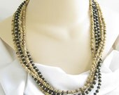 Vintage 5 Strand Black and Browns Wood Bead Necklace in Ethnic Style
