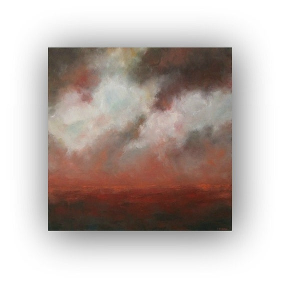 Storm Clouds Painting- Oil on Canvas- Brown Orange White Pink 24 x 24 Abstract Landscape Sky Original Palette Knife Art