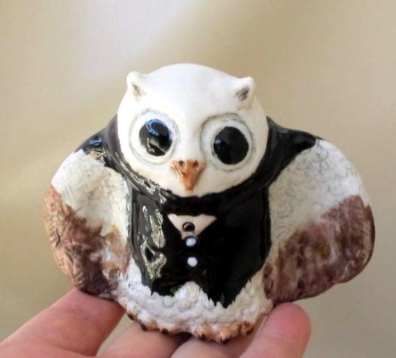 Ceramic Owl Figurine - Animal Art Sculpture - Next Day Shipping