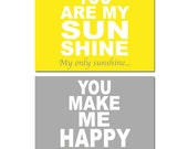 You Are My Sunshine Nursery Decor - Set of Two 11x14 Nursery Art Prints - CHOOSE YOUR COLORS - Shown in Lemon Yellow and Gray