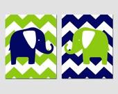 Chevron Elephant Nursery Art Duo - Set of Two 11x14 Prints - Kids Wall Art for Nursery - CHOOSE YOUR COLORS