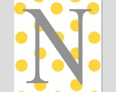 Polka Dot Initial Monogram - Customized Letter - 5x7 Print - Choose Your Letter and Colors - Nursery or Childrens Art