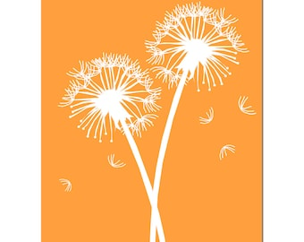 Dandelions Series II - 11x14 Floral Print - Nursery, Bathroom, Home Decor - CHOOSE Your COLORS - Shown in Yellow, Gray, Orange, and More