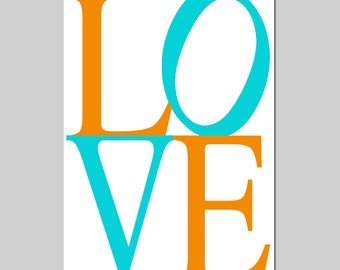 LOVE - 13x19 Large Typography Print - Modern Nursery Art - Choose Your Colors - Shown in Yellow, Gray, Black, Aqua, Orange, and More