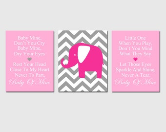 Baby Mine Chevron Elephant - Set of Three 8x10 Nursery Art Prints -  Dumbo Song Lyrics - Choose Your Colors - Shown in Yellow, Gray, More
