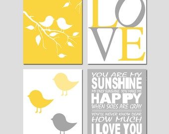 Kids Wall Art - Nursery Quad - Set of Four 8x10 Prints - You Are My Sunshine, LOVE, Baby Birds on a Branch, Baby Chicks