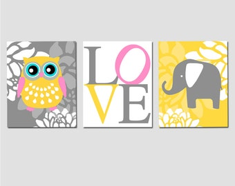 Nursery Art Prints Trio - Set of Three 11x14 Prints - Floral Owl, Floral Elephant, Love Typography - CHOOSE YOUR COLORS