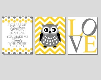 Modern Nursery Trio - Set of Three 8x10 Prints - You Are My Sunshine, Chevron Owl, LOVE - Choose Your Colors - Shown in Yellow and Gray