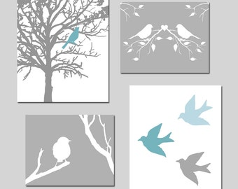 Nature Nursery Art Prints - Bird Quad - Set of Four Prints - 11x14 and 8x10 Mix - CHOOSE YOUR COLORS - Shown in Gray, Yellow, Blue, and More