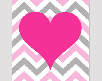 Chevron Heart Nursery Art Baby Girl Nursery Decor  Print - CHOOSE YOUR COLORS