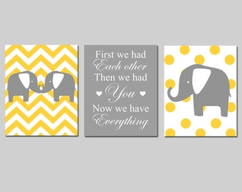 Chevron Elephant Polka Dot Trio - Set of Three 11x14 Nursery Prints - First We Had Each Other, Then We Had You, Now We Have Everything