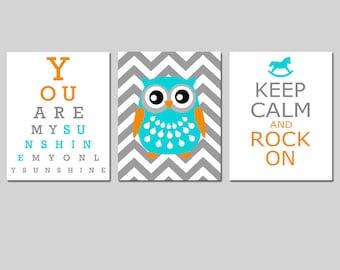 Modern Nursery Art Trio - You Are My Sunshine Eye Chart, Chevron Owl, Keep Calm and Rock On - Set of Three 11x14 Prints - CHOOSE YOUR COLORS