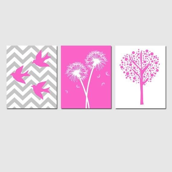 Baby Girl Nursery Decor Art - Set of Three 8x10 Nursery Art Prints - Chevron Birds, Dandelions, Tree Dot - CHOOSE YOUR COLORS