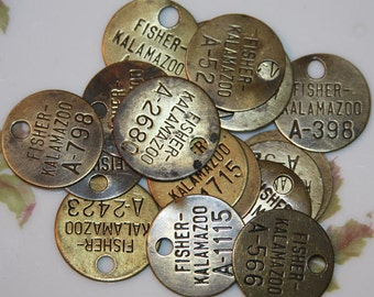 Vintage Brass Tag (1) Fisher Kalamazoo GM Plant- Metal Number Tag- Altered Art- Mixed Media- Repurpose- Jewelry Making