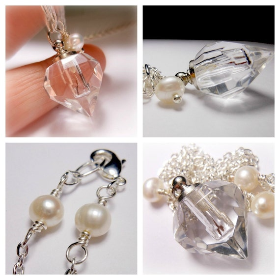 Crystal Faceted Perfume Bottle Necklace with Freshwater Pearl Make A Wish Dandelion Seed
