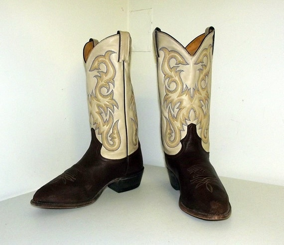 two tone brown and white tony lama cowboy boots 9 d or
