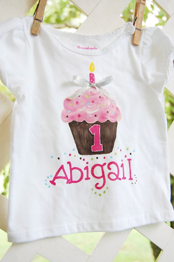 personalized birthday outfit for girl, cupcake first birthday outfit girl, 1st birthday tee girl, cupcake shirt, 1st 2nd 3rd birthday tee