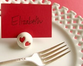 clay HEART Place Card Holder - valentine wedding , escort card , name place holder - set of 10 red silver or gold