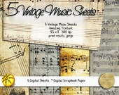 Vintage Music Paper Collection - 5 Printable Digital Sheet Collection